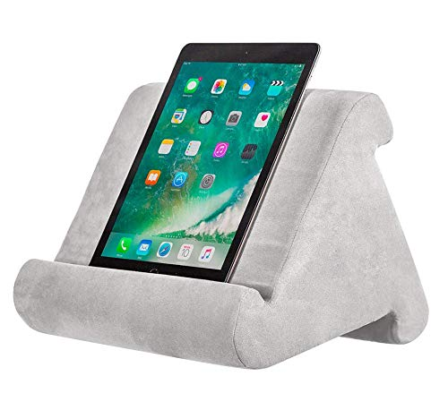 iPad Tablet Stand Pillow Holder - Multi-Angle Soft Tablet Pillow for Lap, Knee, Sofa and Bed - Universal Phone & iPad Stands for eReaders, Magazines, Kindle (gray)
