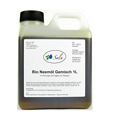 Sala Neemöl kaltgepresst bio mit Rimulgan Emulgator 1 L 1000 ml Kanister