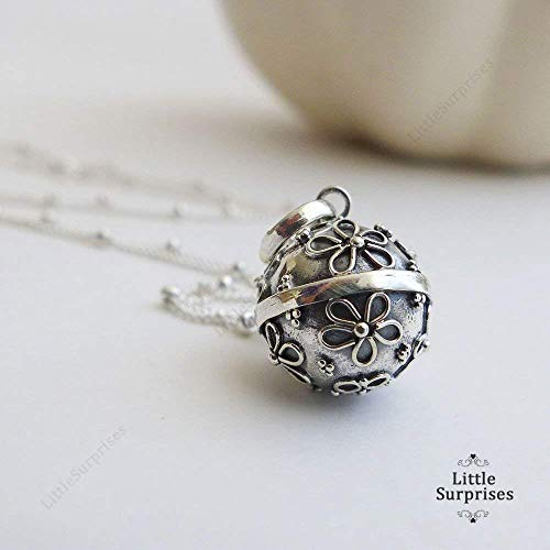 "12mm Small Daisy Flower Chime Sound Harmony Ball Sterling Silver Pendant 16"" Necklace LS57"