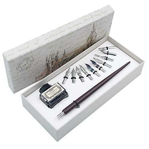 Holzstift Handgefertigtes Kalligraphie Set Schreibfeder Feder Stifte mit Tinte und 11 Federn für Kunst, Schreiben, Unterschriften, Dekoration, Geschenk HO-Q-301