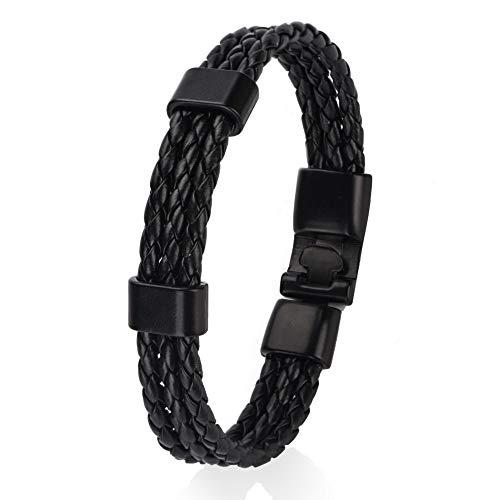 Duevin Pulseras Retro Étnico de Cuero Trenzadas Pulsera Cuero Trenzado Hombre Trenzado Brazalete Ajustable para Hombres Mujeres Leather Wristbands (Negro)