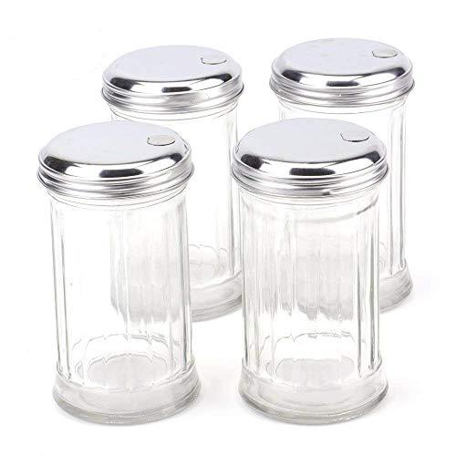 Tebery 4 Pack Stainless Steel Flip Cap Glass Sugar Dispenser/Pourer/Shaker,12 ounce