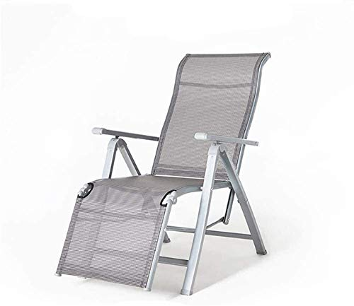 L&B-MR Folding Chair Home Recliner Office Nap Chair Beach Chair Desk Chairs Sunloungers Zero Gravity Chair Rocking Chair(Color:Silver,Size:Large) (Color : Silver, Size : XLarge)