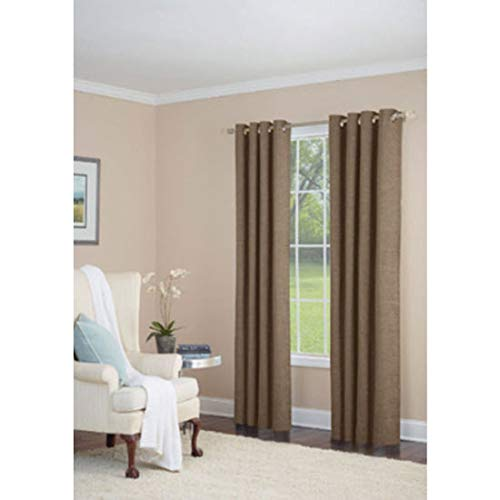 allen + roth Silcroft 95-in Chocolate Chenille Grommet Single Curtain Panel