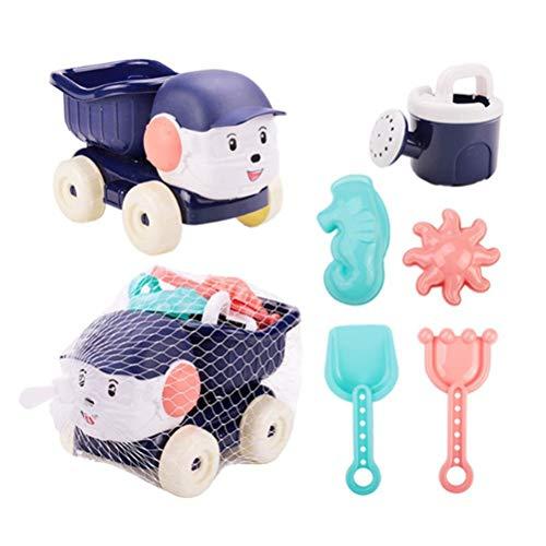 Guanan Sandspielzeug Set, 6PCS Kinder-Sandspiel-Set, Sandkasten-Spielzeug mit Vier-Rad-Wagen, Gartenspielzeug für Kinder Spielzeug Jungen Mädchen - Dunkelblau