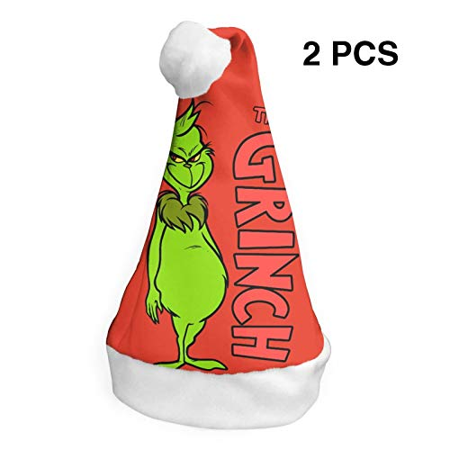 2 Pcs Christmas Hats Grinch Who Stole Christmas Santa Claus Cap Xmas Unique Decoration