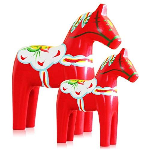 Yundxi Juego de 2 Figuras de Caballos de Dala suecos de Madera para decoración de casa (Rojo)