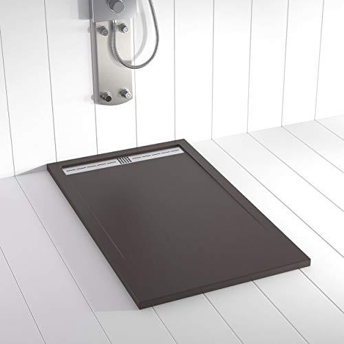 Shower Online Plato de ducha Resina FLOW - 90x180 - Textura Pizarra - Antideslizante - Todas las medidas disponibles - Incluye Rejilla Inox y Sifón - Chocolate RAL 8017