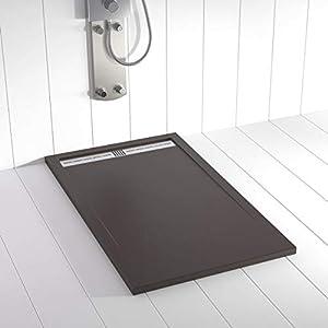 Shower Online Plato de ducha Resina FLOW - 80x150 - Textura Pizarra - Antideslizante - Todas las medidas disponibles - Incluye Rejilla Inox y Sifón - Chocolate RAL 8017