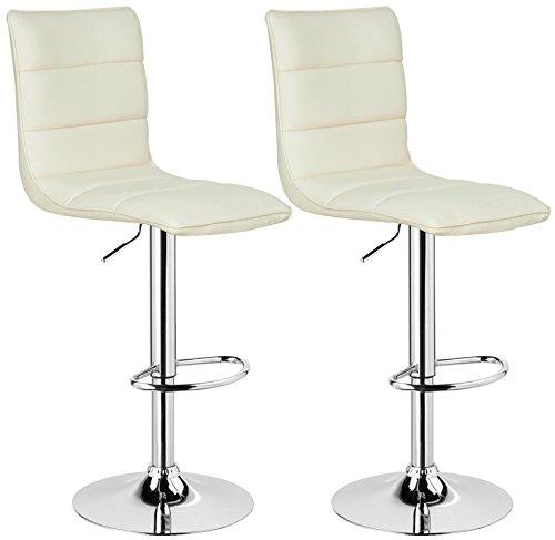 WOLTU BH15cm-2 Design Hocker mit Griff, 2er Set, stufenlose Höhenverstellung, verchromter Stahl, Antirutschgummi, pflegeleichter Kunstleder, gut gepolsterte Sitzfläche, Creme