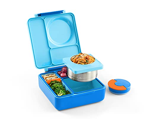 OmieBox Bento Box for Kids - Insulated Bento Lunch Box with Leak Proof Thermos Food Jar - 3 Compartments, Two Temperature Zones (Sky Blue) (Single) (Packaging May Vary)