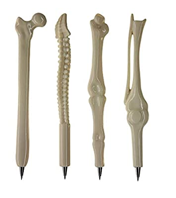 Set of 4 Fun Bone Pens Black Ink for Nurses, Doctors, Orthopods, Radiographers, Radiologists, Party Bags. by Novelty Nurse