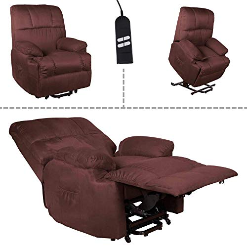 MACOShopde by MACO Möbel TV-Sessel FRANK mit elektrischer Aufstehhilfe, Schlafsessel mit Liege- und Relaxfunktion aus Velours Mikrofaser in Braun mit 2 kraftvollen Motoren und Fernbedienung