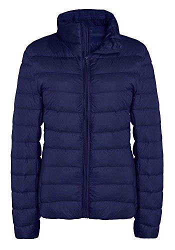 ZSHOW Women's Packable Down Coat Outerwear Ultra Light Spring Hiking Jacket (Navy,L)