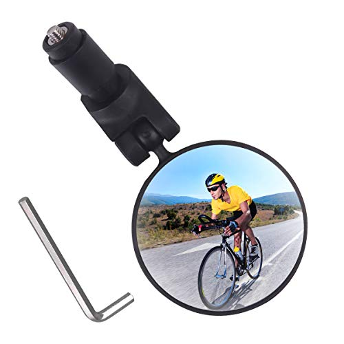 OICGOO Bar End Bike Mirror Bicycle Rear View Mirror Adjustable Handlebar Mount Convex Safe Rearview Mirror for Mountain Road Bike