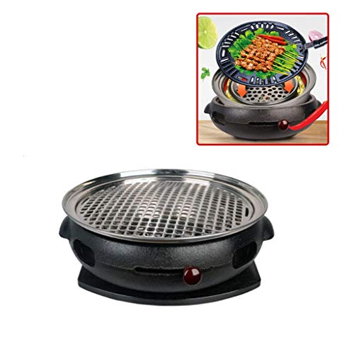 Holzkohlegrills Barbecue Korean BBQ Grill Runde Gewerbe Smokeless Barbecue Grill Carbon-Feuer Bratpfanne Haushalts Charcoal Gusseisen-Kaminofen Grillkamine (Color : Black, Size : 36.5 * 10cm)