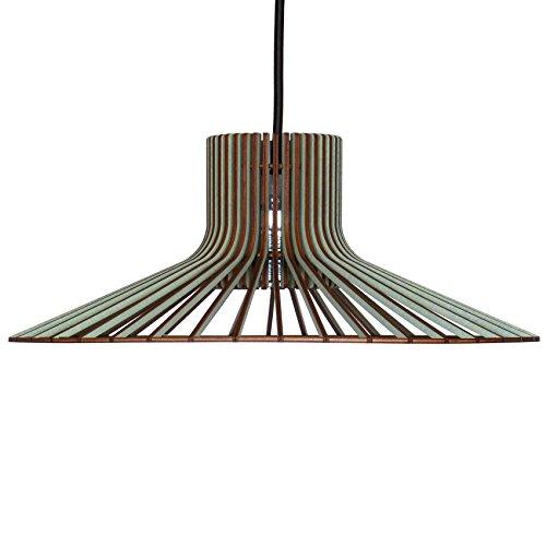 Lampe suspendue à tapas en bois – Plafonnier design moderne – 8 couleurs disponibles, Eisblau, E27 60.0 wattsW