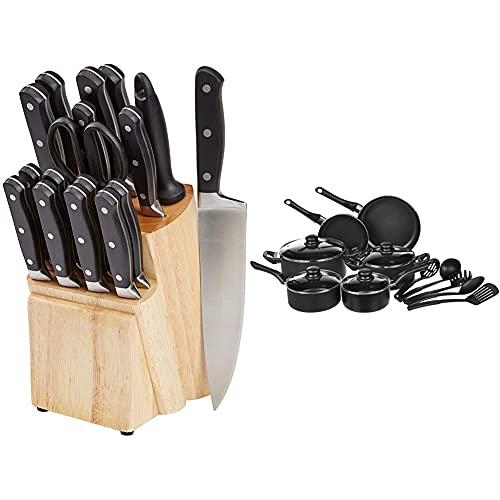 Amazon Basics Set Premium di coltelli con ceppo, 18 pezzi & Batteria Da Cucina, 15 Pezzi Con Rivestimento Antiaderente