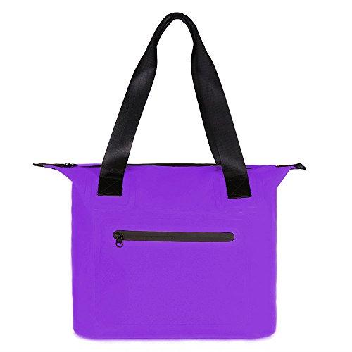 Women Fashion Handbag Shoulder Bag Ladies Tote Bag Waterproof Dry Bag Sports Duffels Casual & Work, girl Gift 500D PVC Watertiper Zipper Beach Kayaking Sailing Cycling, 30L,Purple