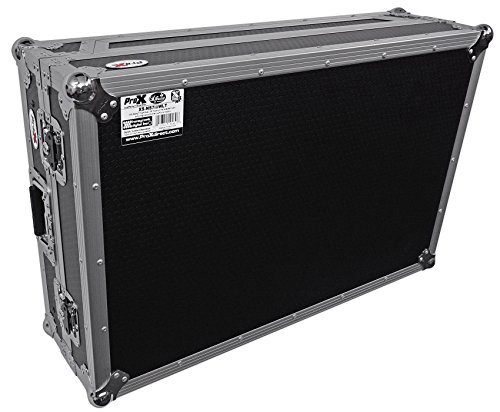 ProX XS-NS7IIIWLT Flight Case for Numark NS7iii or NS7ii Digital Controller With Wheels & Laptop Shelf - Silver on Black Design