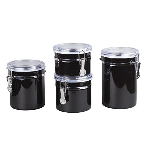 Creative Home Set of 4 Pieces Stainless Steel Canister Container Set with Air Tight Lid and Locking Clamp, 26 oz, 36 oz, 47 oz, and 62 oz, Black
