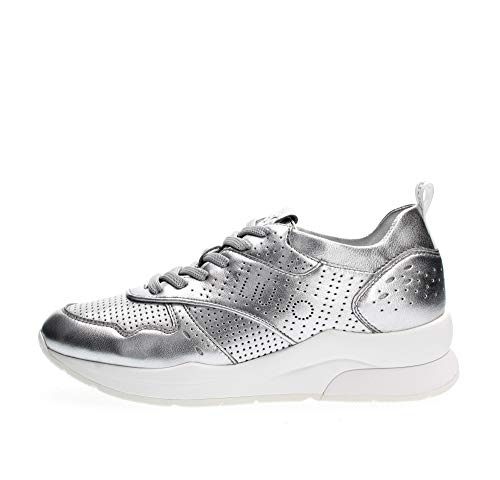 Liu Jo Shoes Karlie 14-Sneaker Met Leath Slv, Scarpe da Ginnastica Basse Donna, Argento (Silver 00532), 38 EU