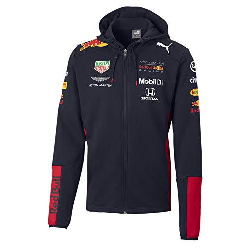 Red Bull Racing Official Teamline Zip Sudadera con Capucha, Azul Hombres Small Hoodie, Racing Aston Martin Formula 1 Team Original Ropa & Accesorios