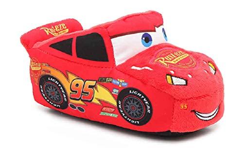 Toddler Boys Cars Lightning McQueen Plush Slippers (Toddler US 5/6) Red