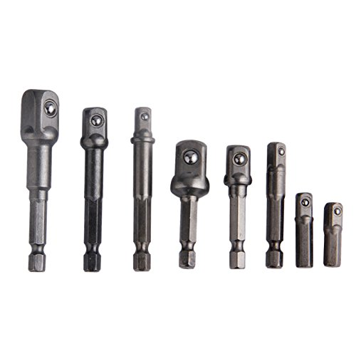 8Pcs Set di adattatori per punte di trapano Crv Extension Bar Esagonale codolo flessibile per 1/4'3/8' 1/2'Electric Powerdriver Power Tools