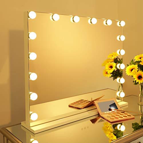 WAYKING Beleuchteter Kosmetikspiegel mit 16 LED-Glühbirnen, Hollywood-Make-up-Spiegel mit Lichtern, Tisch- oder Wandspiegel mit Touchscreen-Dimmer und USB-Ladeanschluss (L27.56 x H21.65 Zoll)