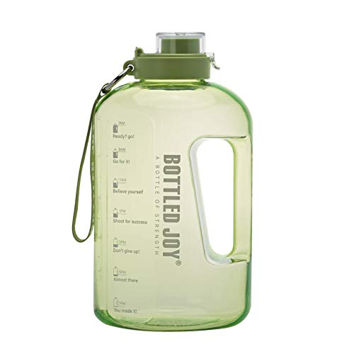 BOTTLED JOY Half Gallon Water Bottle, BPA Free 75oz Large Water Bottle Hydration with Motivational Time Mark Leak-Proof Drinking 2.2L Water Bottle for Camping Workouts and Outdoor