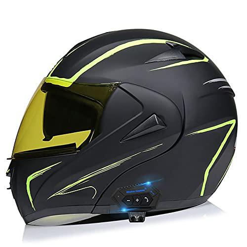 BDTOT Bluetooth Integrado Casco de Moto Modular con Doble Visera Cascos de Motocicleta Dot/ECE Homologado A Prueba Viento Adultos Hombres Mujeres para Respuesta Automática Adultos