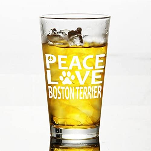 Boston Terrier Peace Love - Copa de vino sin tallo, vaso de whisky grabado, perfecto para padre, mamá, niño o amiga