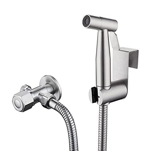 Pulverizador Grifo Bidet Portatil para Wc, 304 Ahorro de Agua Multifuncional Ducha Bidet para Inodoro WC Del Acero Inoxidable Con La Manguera, Usado en El Retrete-Gramo
