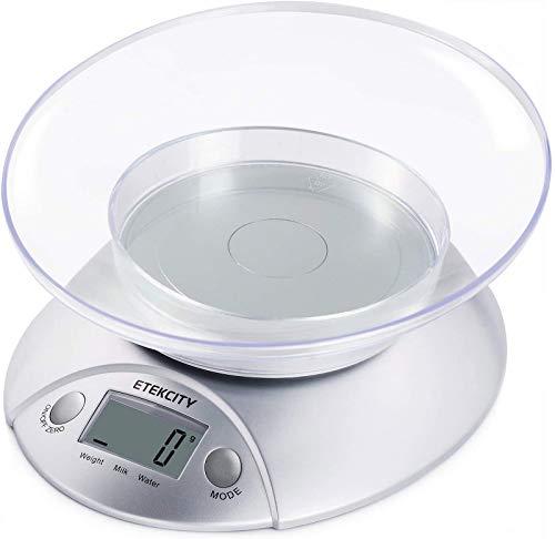 ETEKCITY Bilancia da Cucina Digitale Elettronica 5kg/11lb, Bilancia per Alimenti con Ciotola in Plastica Removibile, Funzione Tara/Misura Volume/Liquidi, Display LCD, Argento