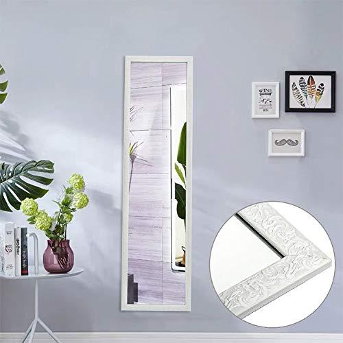 AUFHELLEN Großer Spiegel 127x35.5cm Wandspiegel im Barock-Stil mit Gemustert Weiß Rahmen HD Ganzkörperspiegel mit Haken und Rückwand für Tür, Wohn-, Schlaf- und Ankleidezimmer (Weiß)