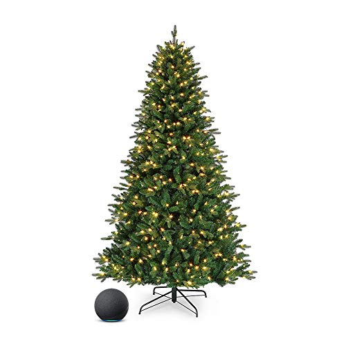 Mr. Christmas Works with Alexa RGB Vermont Spruce LED Christmas, Green, Seven Foot Artificial Tree, 7' with Echo Dot (4th gen), Charcoal