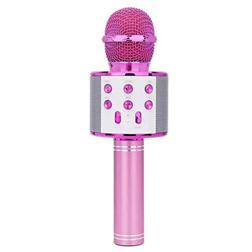 Microfoon, draadloos, bluetooth, karaoke, zakcomputer, USB, oplaadbaar, KTV ontvangst, microfoon, zang, speler, verjaardag, professionele microfoons, voor iOS/Android (kleur: roze)