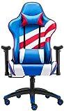 SJZLMB Silla ergonómica de juego, Heavy Duty respaldo alto Silla de oficina de descanso de la computadora PC Silla giratoria de escritorio con soporte lumbar apoyo for la cabeza de cuero PU Presidente
