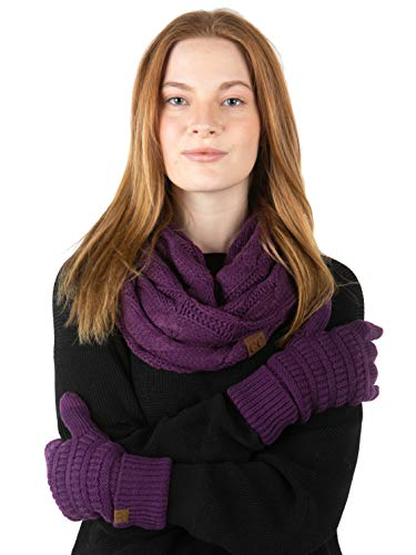 Infinity Scarf and Matching Lined Gloves Bundle (E6 & G2) - Purple