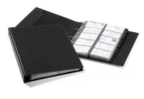 Durable 244401 Visitenkartenringbuch Visifix A4 Economy, für 400 Visitenkarten, inkl. Register A-Z, schwarz