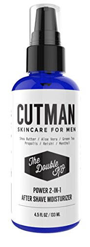 Cutman After Shave Balm + Face Moisturizer For Men - 4.5 Oz Of Double KO - Menthol and Caffeine Soothes and Recharge - Attack Ingrown Hairs - Defends Dry Skin - Organic 2 In 1 Anti-Aging Aftershave