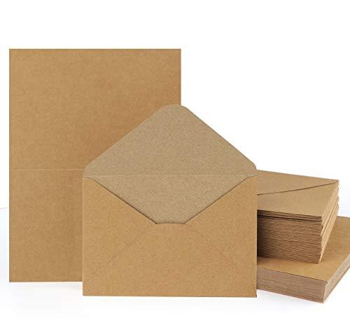 Mocraft 60Sets Kraftpapier Karten mit Briefumschläge Natur-Braun Falt-Karten DIN A6 Klappkarten für geschenk Grußkarten Einladung
