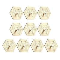EXCEART 10個の未完成の木製こま天然木ブランク中空ジャイロスコープ旋回フリップトップdiy絵画おもちゃ子供のためのパーティー引出物教育幹賞(六角形)