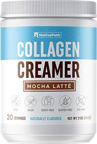 NativePath: Mocha Latte Collagen Coffee Creamer - Made with Pure Grass-Fed Collagen Protein Powder, MCT Oil, Monk Fruit - 20 Servings - Perfect for Paleo and Keto Coffee - No Dairy, Soy or Gluten