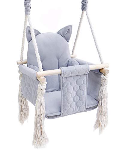 Babyschaukel Kinderschaukel Holz Baby Schaukel Outdoor Indoor (GRAU Katze)