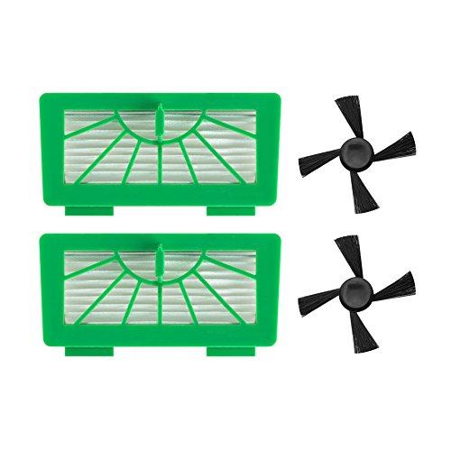 Neutop HEPA-Filter und Seitenbürsten-Set Ersatz für Vorwerk Kobold VR100 Roboter-Staubsauger (2 grüne Hepa-Filter, 2 Seitenbürsten)
