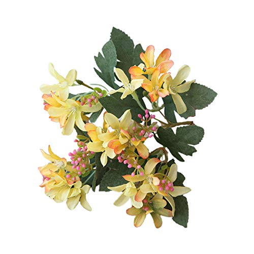 Academyus Artificial Flower Vintage 5 Head Artificial Silk Flower Decoration Artificial Daffodil for Family Yellow
