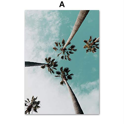 SDFSD Coconut Palm Tree Pink Beach Sea Umbrella Wall Art Canvas Painting Nordic Posters And Prints Wall Pictures For Living Room Decor A 55x75cm