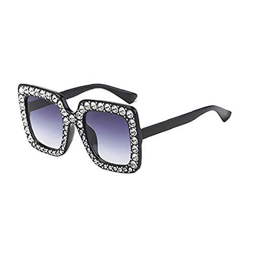 Hiinice Oído 1PC Artificial Diamante Gafas de Sol del Gato Marco Cuadrado Grande de Metal de Gran tamaño Gafas de Sol Gafas de Sol de Navidad Regalo para Las Mujeres niñas